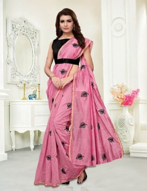 rose pink chanderi cotton fabric emboidery work casual