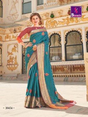 sky blue soft silk fabric meena work work festival