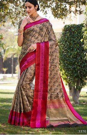 light brown banarasi jari fabric weaving work festival