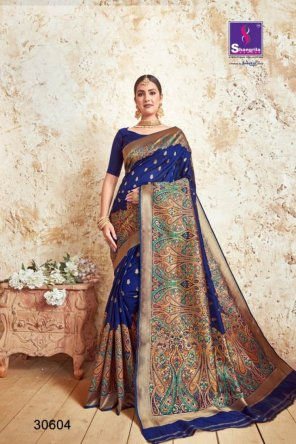 navy blue soft silk  fabric kalamkari meena weaving work festival