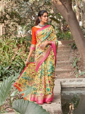 yellow linen with jacquard border fabric digital printed work casual