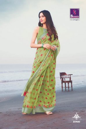pista soft linen fabric handloom print work casual