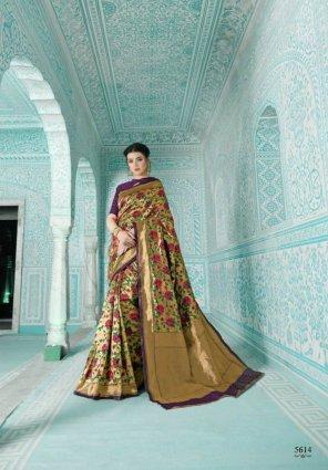 purple soft meenakari paithani fabric weaving work wedding