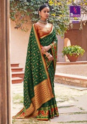 green patola zari silk fabric weaving work wedding
