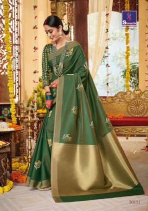 apple green soft dual handloom fabric weaving work wedding