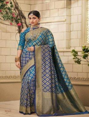 blue with sky silk fabric weaving work festival