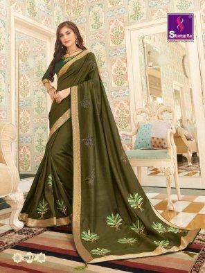 apple green dola silk fabric swarouski diamond work party