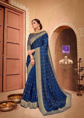navy blue soft silk fabric weaving with heavy border work festival