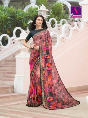 color of multi pure georgette fabric fancy print work party