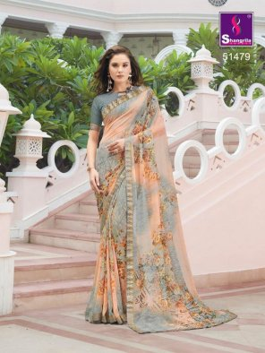peach with grey pure georgette fabric fancy print work party