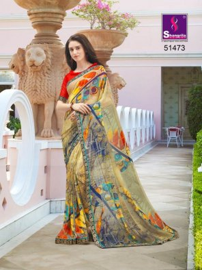 multi pure georgette fabric fancy print work party