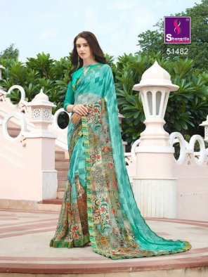 mint pure georgette fabric fancy print work party