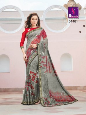 grey pure georgette fabric fancy print work party