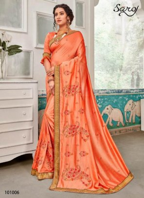 light peach vichitra silk  fabric embroidery work festival