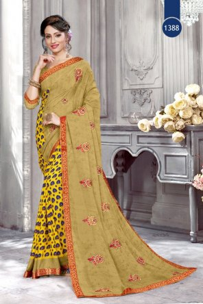 brawon yellow renial fabric printed work casual
