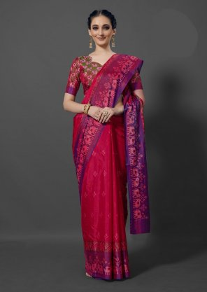 rani pink silk fabric printed work festival