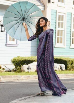 indigo soft brasso silk fabric printed work casual