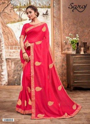 candy pink vichitra silk  fabric embroidery work wedding