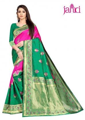 green banarasi silk fabric weaving work festival
