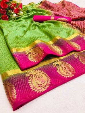 parrot cotton silk fabric weaving border work festival