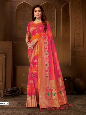 pink banarasi jacquard fabric wedding work weaving