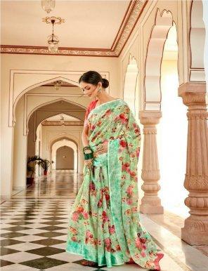 pista linen silk fabric party work printed