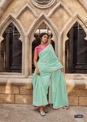 mint linen silk fabric handwork work festival