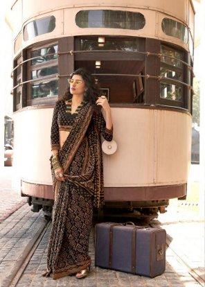 black linen baraso silk fabric printed work festival