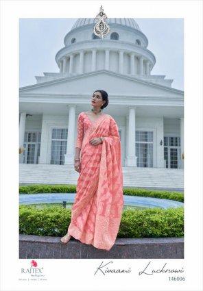 light pink cotton silk fabric weaving work festival