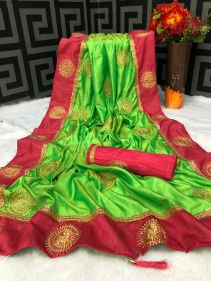 parrot vichitra silk fabric weaving work festival
