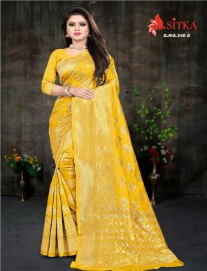 yellow poly cotton  fabric theard work casual
