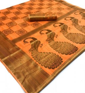 orange soft cotton fabric weaving work wedding