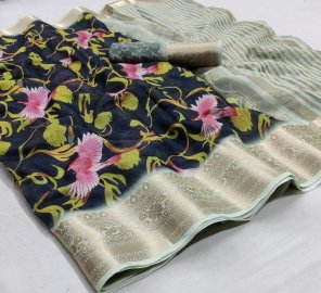 black soft cotton fabric print with weaving border work casual