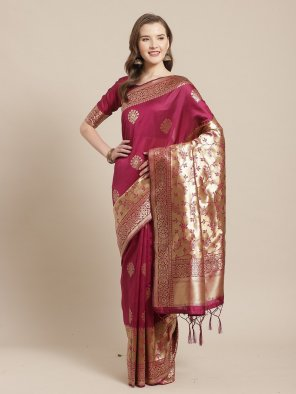 magenta silk fabric weaving work wedding