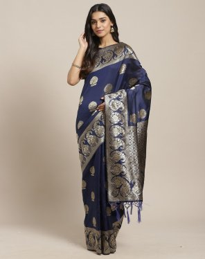 navy blue silk fabric weaving work festival