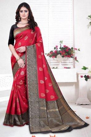 rubby red banarasi silk fabric weaving work party