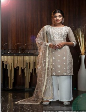 beige white georgette fabric diamond work festival