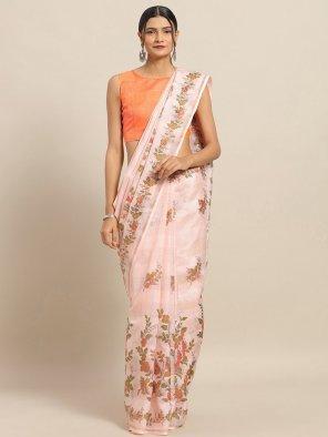 peach linen fabric print work casual