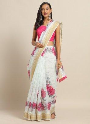 hot pink linen  fabric print work casual