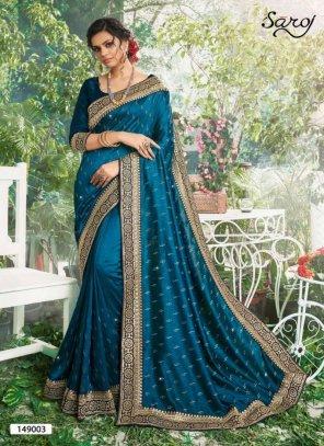 peacock vichitra silk fabric border work festival