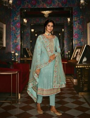 mint pure silk fabric embroidery work wedding
