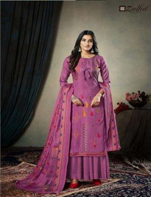 jam pink pure pashmina fabric printed work festival