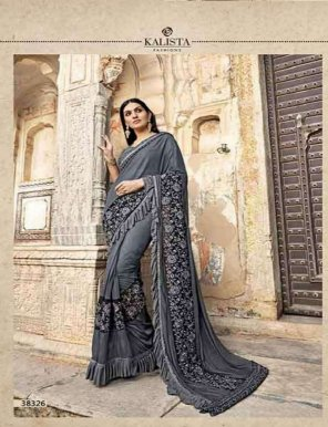 grey georgette fabric embroidery work festival