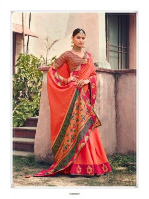 orange soft silk  fabric weaving work wedding