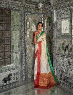 white banarasi silk fabric weaving work wedding