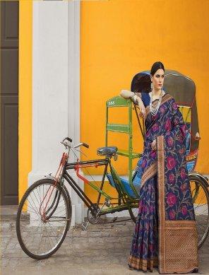 navy blue banarasi silk fabric weaving work festival