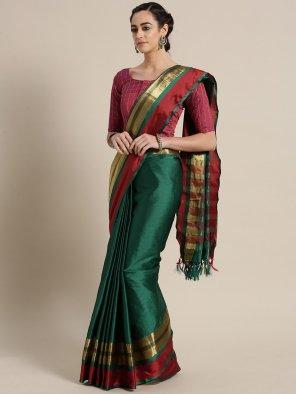 green cotton silk fabric plain work casual