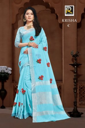 sky linen cotton fabric embroidery work festival