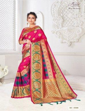 hot pink silk fabric weaving work wedding