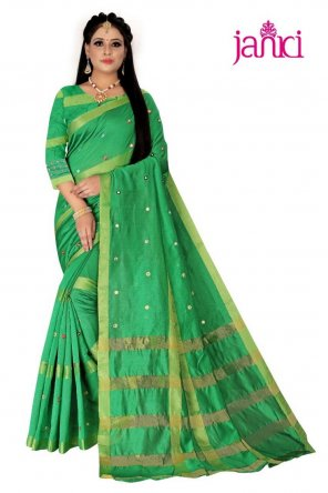 green cotton silk fabric fancy work work festival